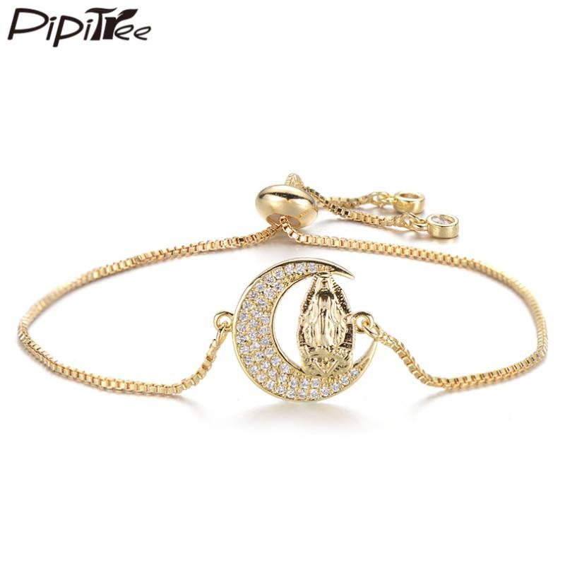 Pipitree Классические Луны с Богородицей браслет Медного Цирконий Slider Цепных цветов золота браслетами для женщин ювелирных изделий