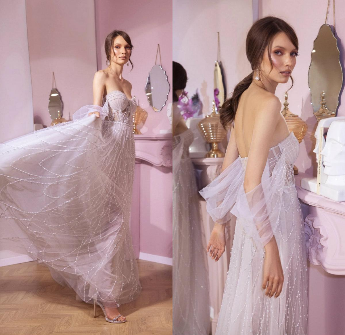 Off плеча Свадебные платья сшитое Pearls Бисероплетение Свадебные платья Дизайнер бисером длины пола Bridal платье