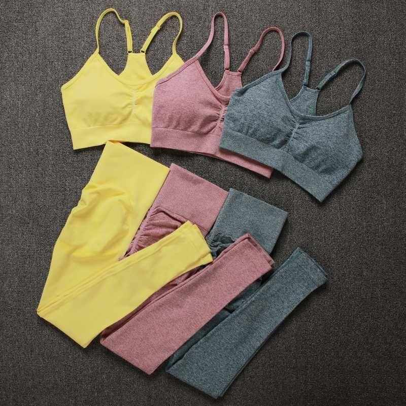 NORMOV Eşofman Kadınlar Dikişsiz Katı Renk İki Parça Setler Kadınlar Gym Spor Sütyen ve Yüksek Bel Tozluklar Spor Kıyafetler