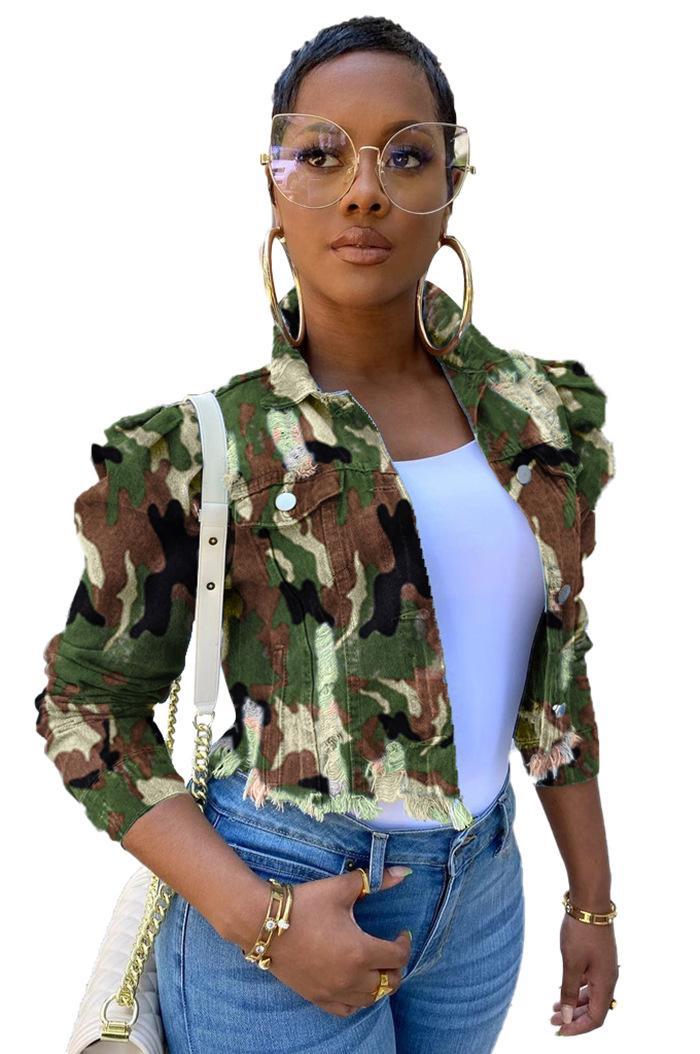 Женская дизайнер Камуфляж джинсы куртка весна и осень отворот шея Верхняя одежда с длинным рукавом Кармана Женщина Streetwear Одежды
