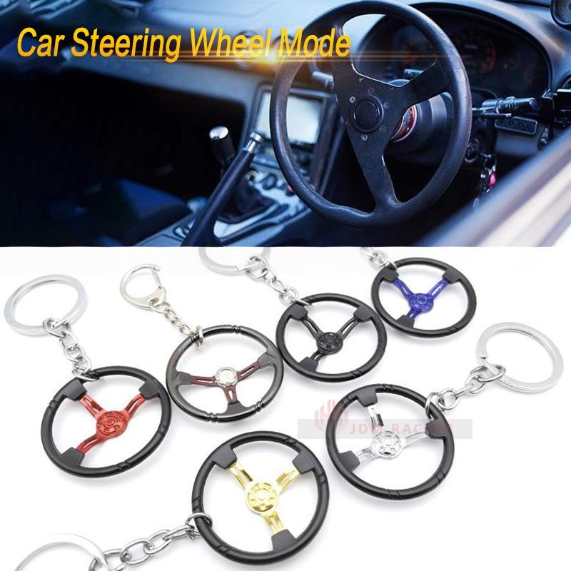 Multi-couleur modification de voiture automatique en acier inoxydable volant de voiture Modèle Keychain de course Porte-clés porte-clés pour pendentif