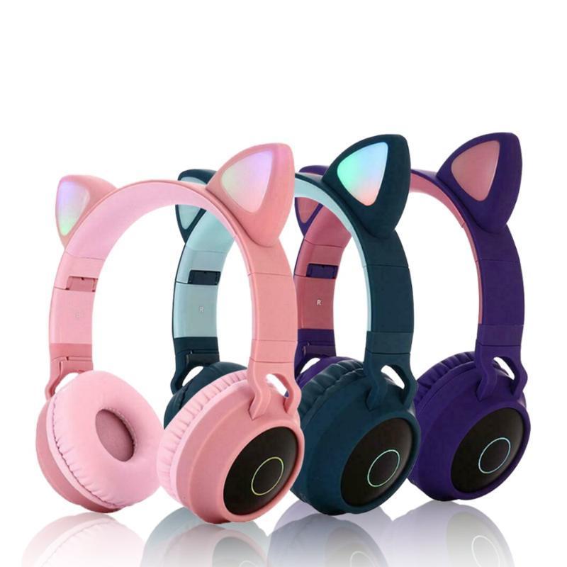 Bluetooth-Kopfhörer-LED Wireless Headset Kopfhörer Über-Ohr mit Mic Verstellbare gepolstertem Kopfbügel für Erwachsene Kinder-PC