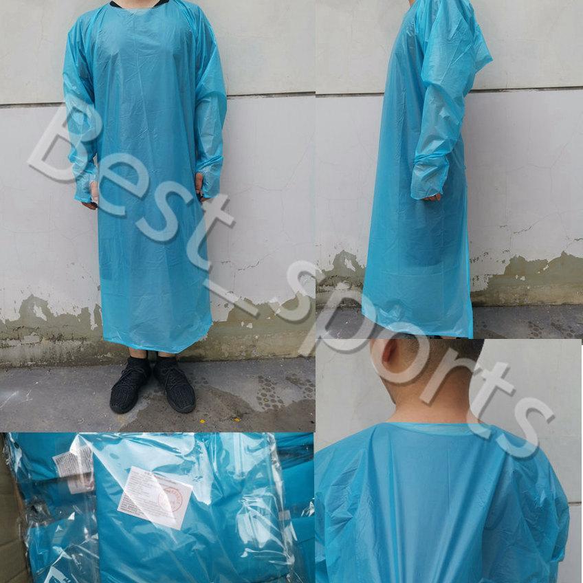 CPE Vestuário de protecção descartáveis Isolamento Vestidos Vestuário Ternos Elastic punhos ao ar livre Anti pó descartável Raincoats CYZ2775 transporte marítimo