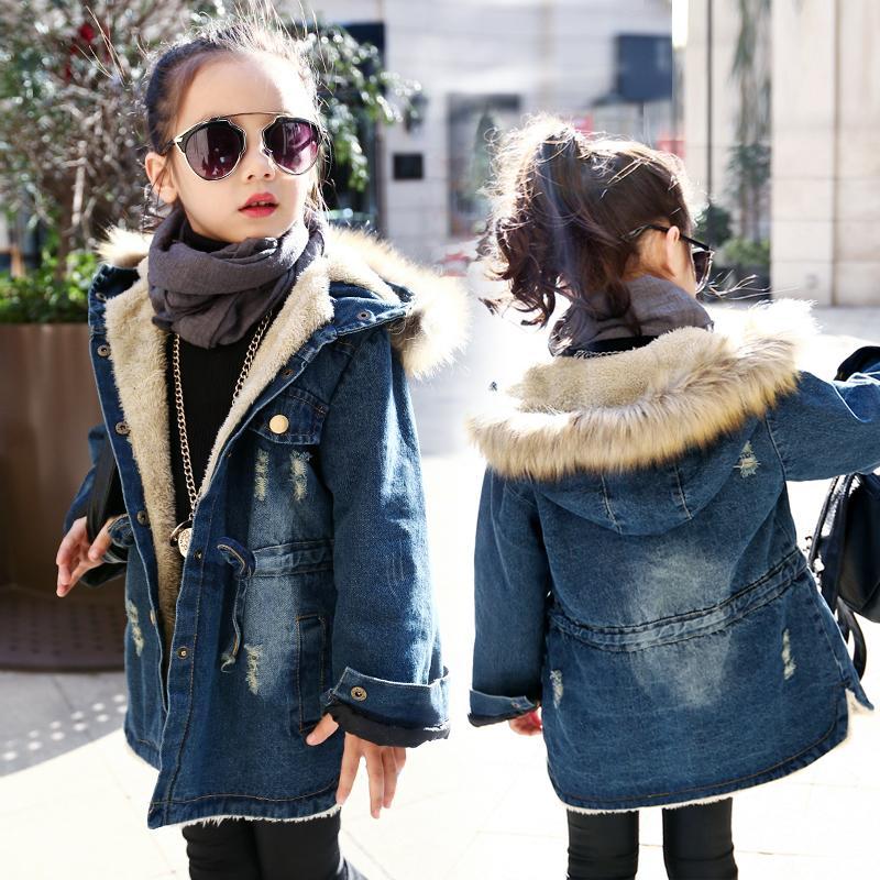 Inverno Meninas longa Denim Jacket Além disso Parka Menina adolescente gola de pele casaco com capuz Outono Crianças Thicken Casacos 4 6 8 10 12 anos