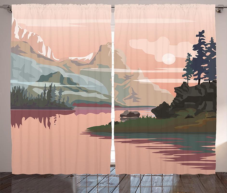 Занавес драпов природы шторы озера долина с горной краской лес реки скалы пейзаж изображения гостиная спальня окна оливкового зеленого цвета
