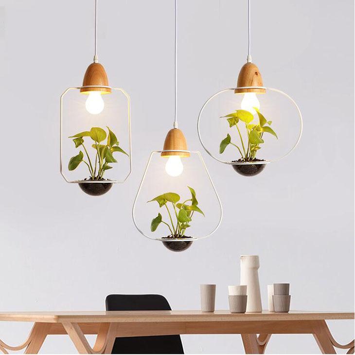 Американский завод Пот Подвеска лампы Ресторан Столовая Подвеска Свет Черный Белый цвет древесины люстры со стеклом