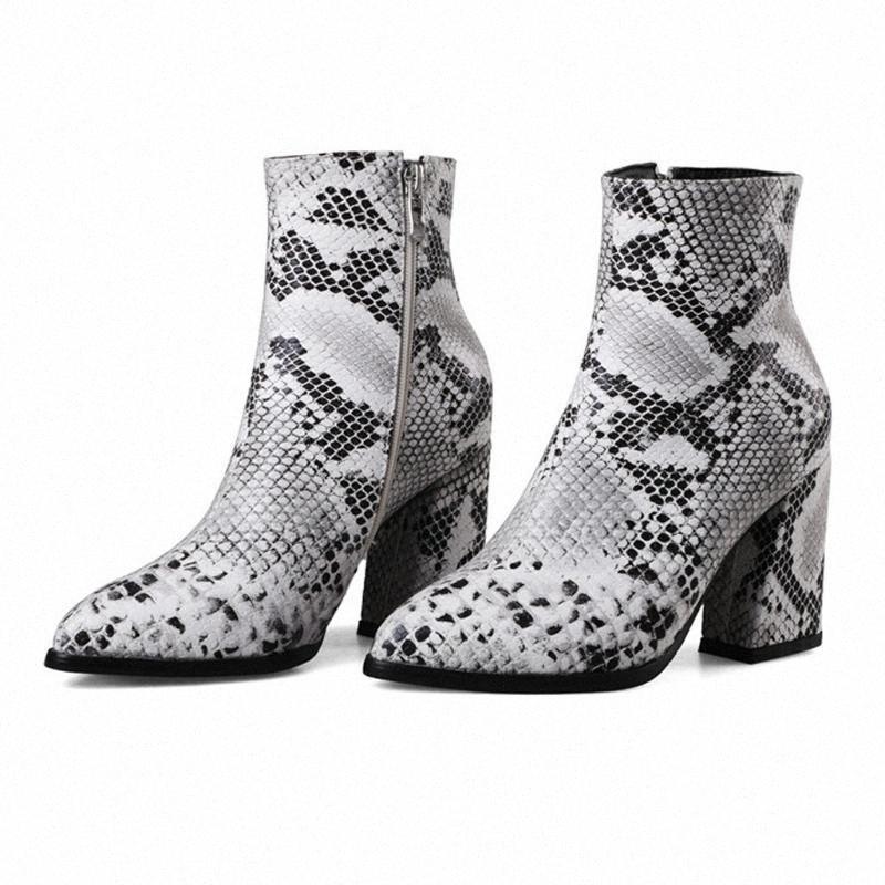 Donna serpente stampa scarpe a punta con tacco alto alla caviglia Large Size 43 Calzari Inverno Autunno occidentale Riverso calzature stivali 2j4c #