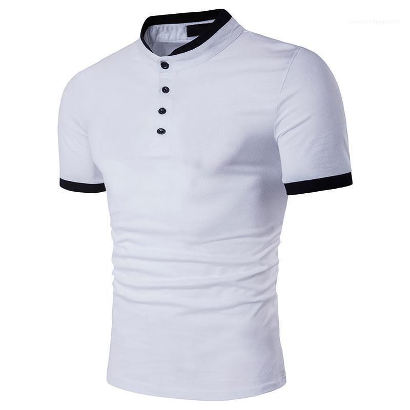 Yaz Polos Artı Boyutu Doğal Renk Polos Kısa Kollu Turn-down Yaka Polos Tasarımcı Polo Gömlek Erkekler Erkek