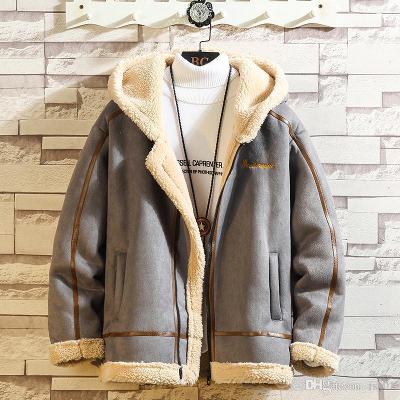 Bomber Uomini spessore inverno caldo pile Teddy Coat per la Mens SportWear Tuta Maschio Fluffy pile cappotto hoodies kg-197
