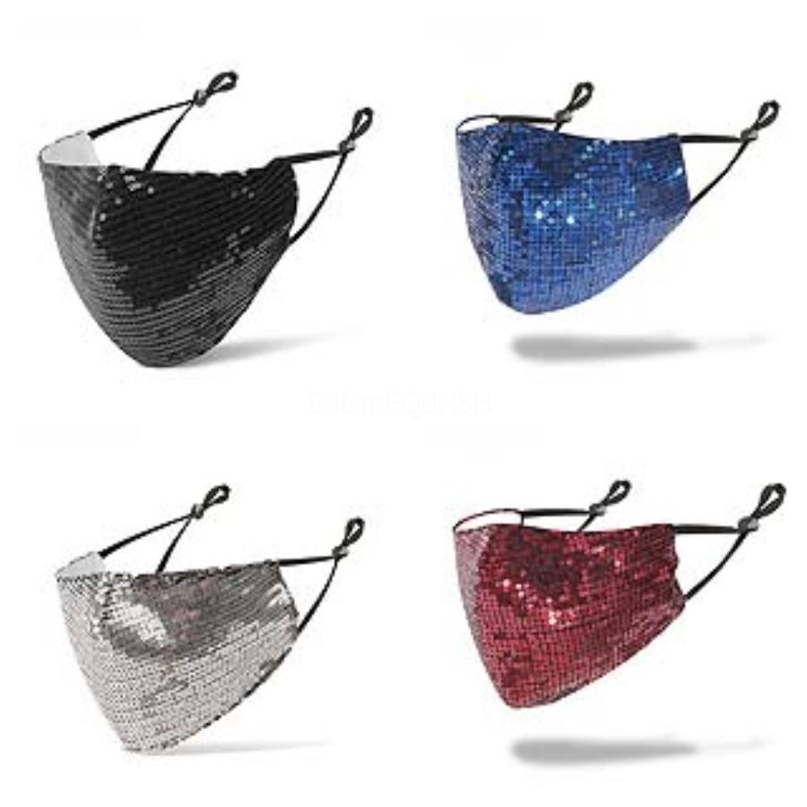 Bling Sequins Face MasksEuropean American Popular Design Masks Summer Thin Dustproof Breathable WashableMask#891