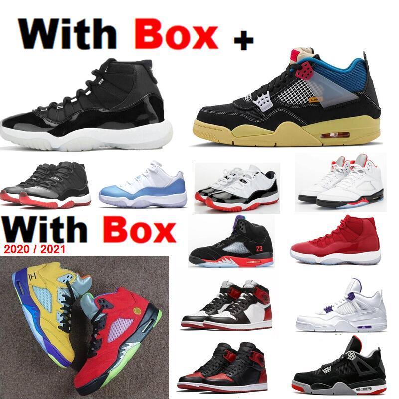 2021 11 25 º aniversário 5 O que os 5s 4 União Bel 1 alta Toyal Fire Red 5s Criado 11s Space Jam Basketball Shoes 4 Union Guava Gelo 4s