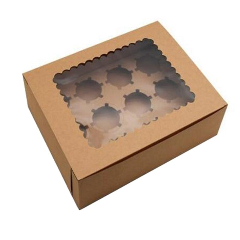 10Pcs Cupcake Box with Window Kraft Paper Boxes Dessert Mousse Box 12 Cup Cake Holders Brown