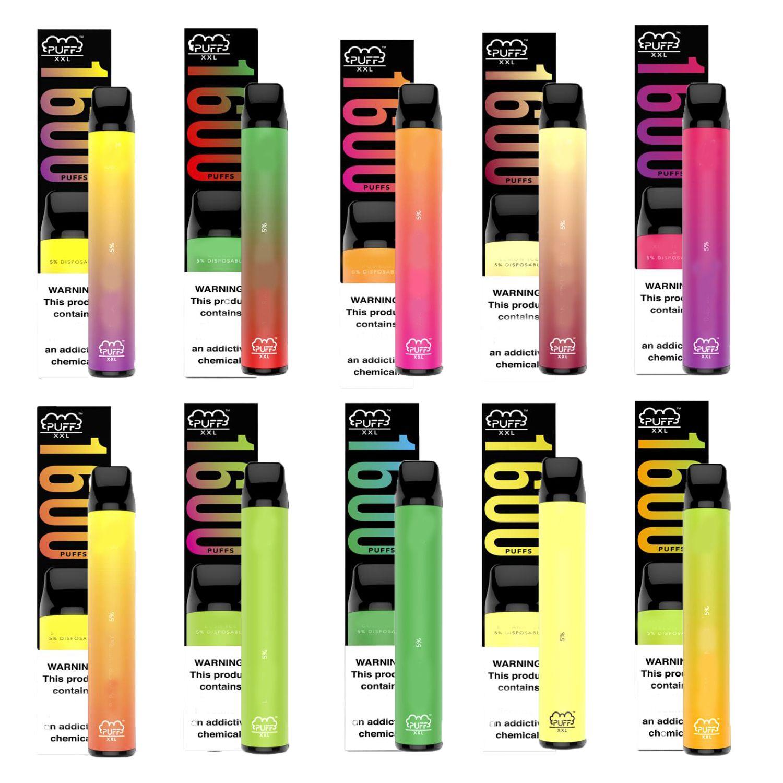 Puff XXL 1600+ Puffs 10 Farben Verdampfer Geräte Puff Bar Langsteigender Einweg-Vape-Stift-Patronen vorgefüllt E Cigs Puff Plus
