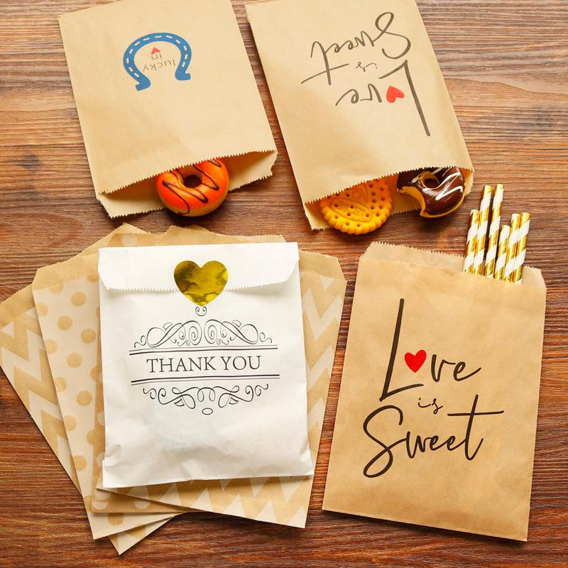 Kraft Paper Bag Candy Biscuit Popcorn Bag Brown White Wave Dot Packing Pouch Pastry Tool Wrapping Wedding Party Supplies