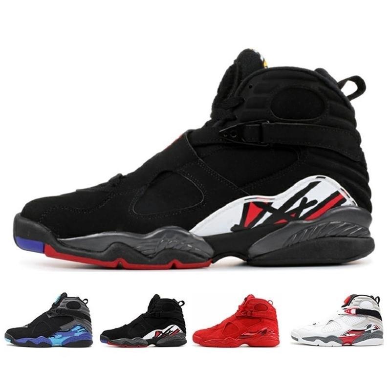 2019 Scarpe San Valentino Aqua Bianco Nero 8s 8 pallacanestro degli uomini Chrome Countdown Confezione 3 TORBA VIII Mens allenatori sportivi Sneaker dimensioni 7-13 RUGK