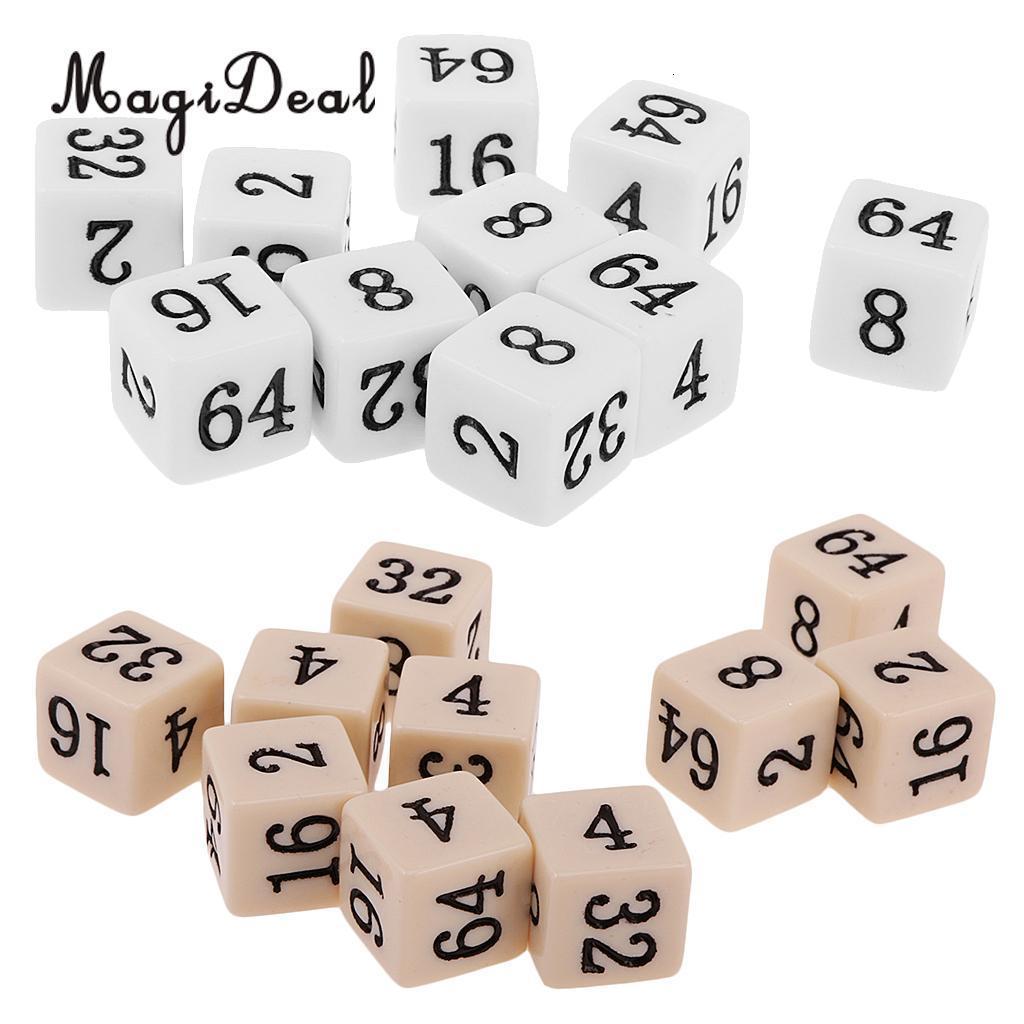 Novidade 10pcs MagiDeal Opaque Six Sided múltipla para o Conselho TRPG Partido da Família engraçado Pub Club Dice Jogo Brinquedos Branco / Bege