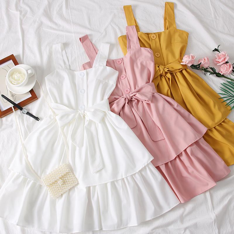 Solid Bow Bandage Sweet Student Women Dress Casual 2020 Spring Summer Dresses A-line High Waist Vestidos 14483