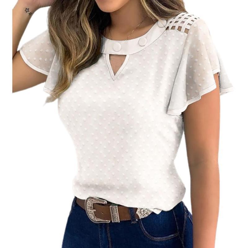 Le donne scava fuori increspato manica Marguerite floreale ricamato Shirt T-shirt Top supera femminile camicia a maniche corte