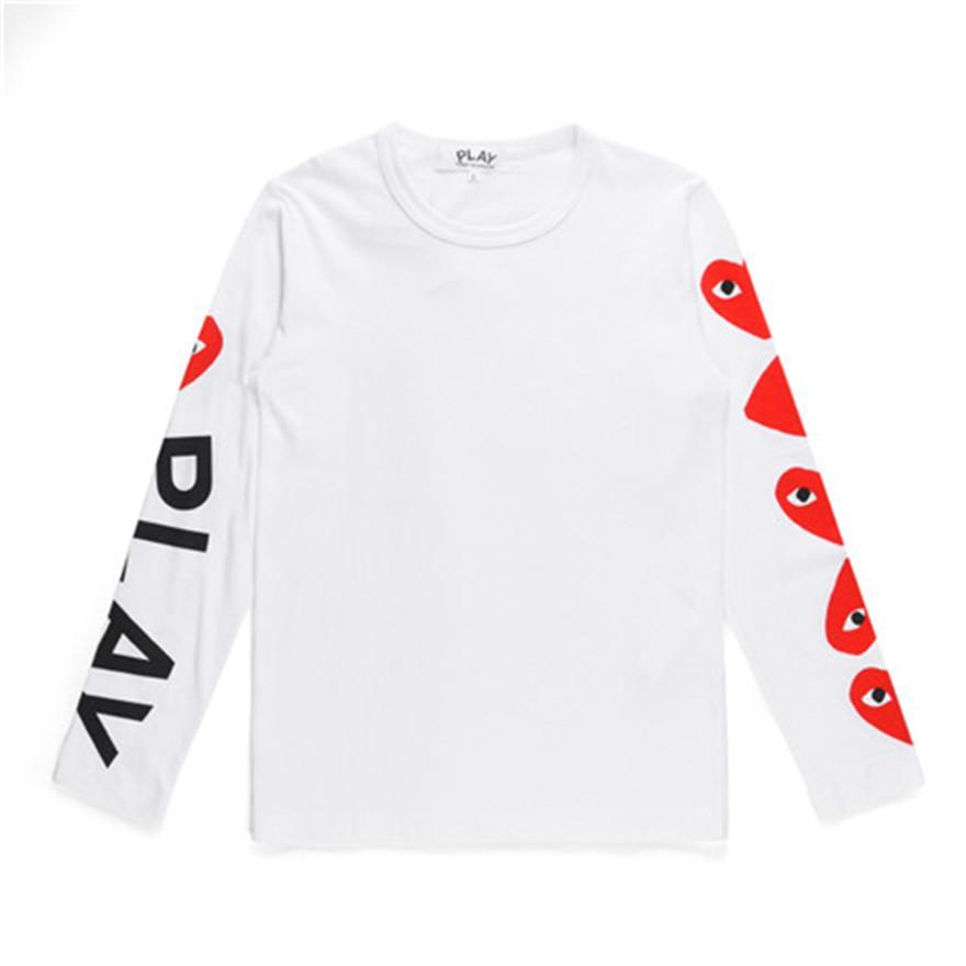 클래식 PLAY '디자이너 남여 T 셔츠 T005 가을 하라주쿠 패션'사치 스타일리스트 레드 하트 남성 여성 긴 소매 티 CDG 캐주얼상의