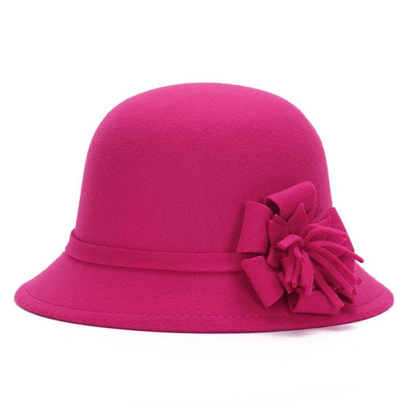 Naiveroo Mulheres lã quente de feltro Fedora Flowers Hat Ladies aba larga Hat Outono Inverno Nobres elegantes Meninas Cap Fashion Party