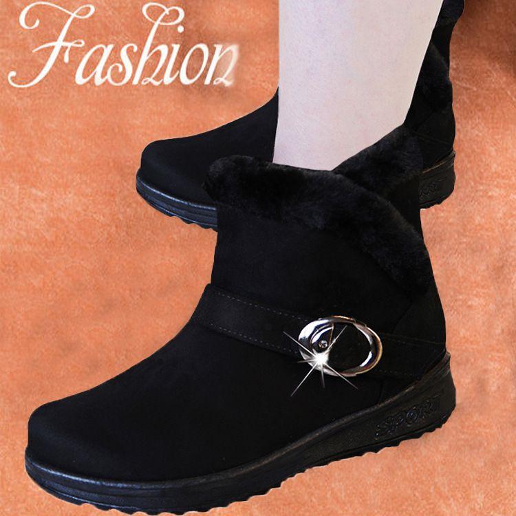 2020 Female Fashion Zip Winter-Schnee-Stiefel Damen Warm-Pelz-Veloursleder-Plattform-Knöchel-Stiefel Frauen Comfort Schuhe Anti-Rutsch-Frauen-Schuhe