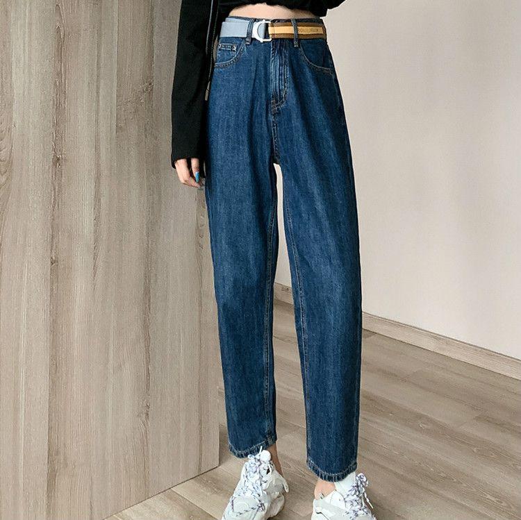 Плюс Размер высокой талией Wide Leg Харлан Темные джинсы для женщин