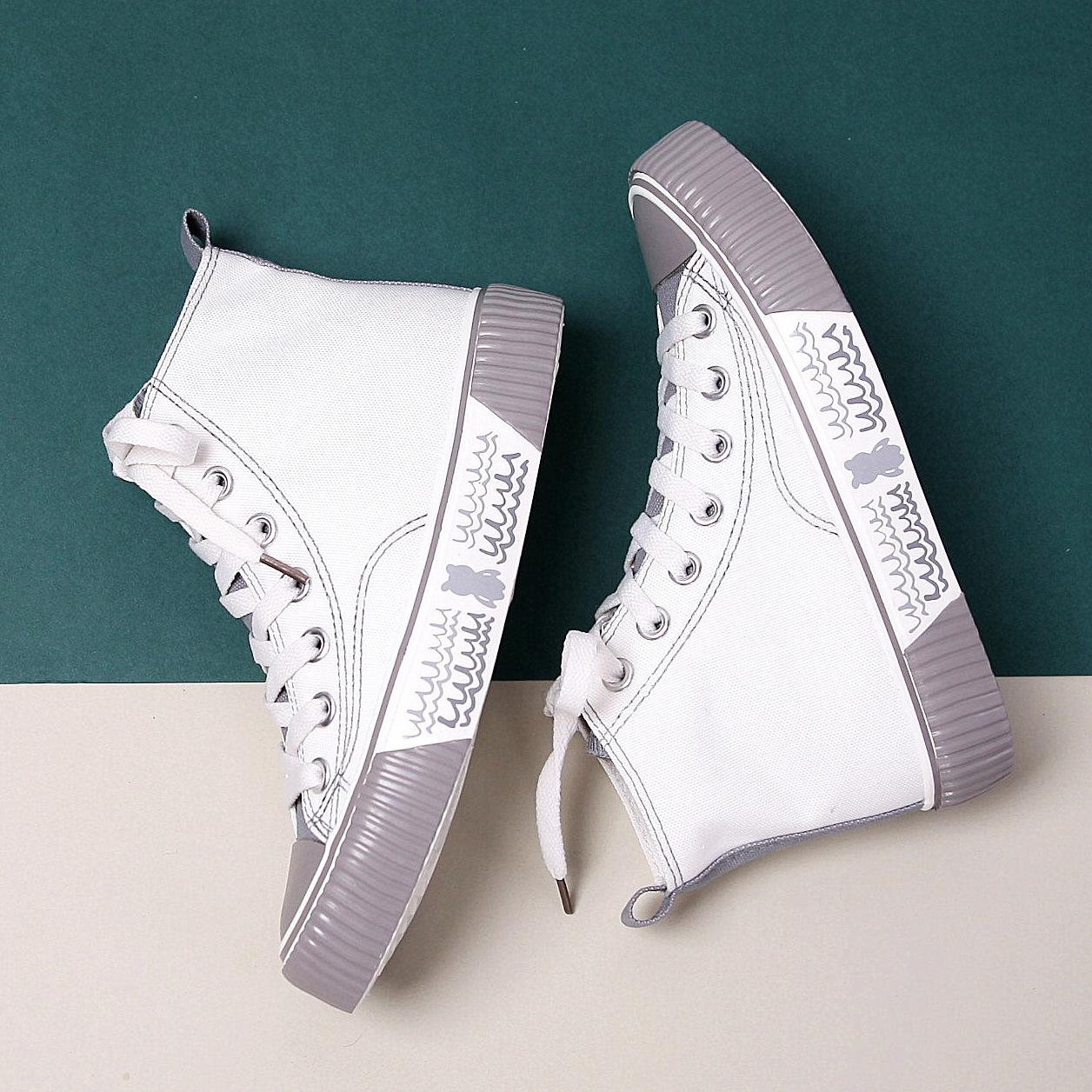 2020 Весна Повседневной обуви Женщина плоской дикая корейские студенты Hight-Top дышащего Ins Кружево Женщины Холст обувь