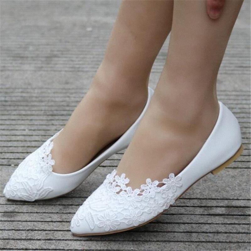 Flache Ballettschuhe weißer Spitze-Kristall Hochzeit beiläufiger Schuh-flache Ferse für Frauen Prinzessin Hochzeit Plus Size 43 TMSP #