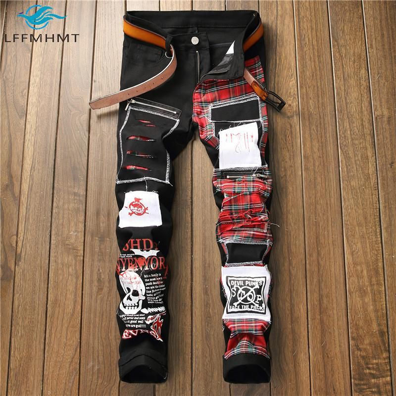 Gli uomini coreani di modo di stile plaid Patchwork Vintage Denim Pant 28-40 Plus Size Slim diritti casuali dei jeans maschio di alta qualità per pantaloni
