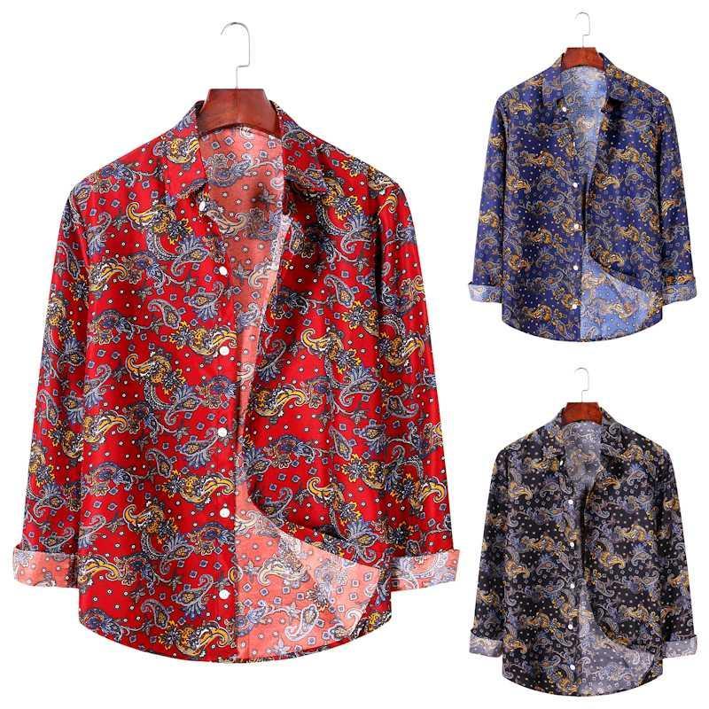 camisa de manga larga AL023 camiseta de los hombres de la flor de la moda de los nuevos hombres
