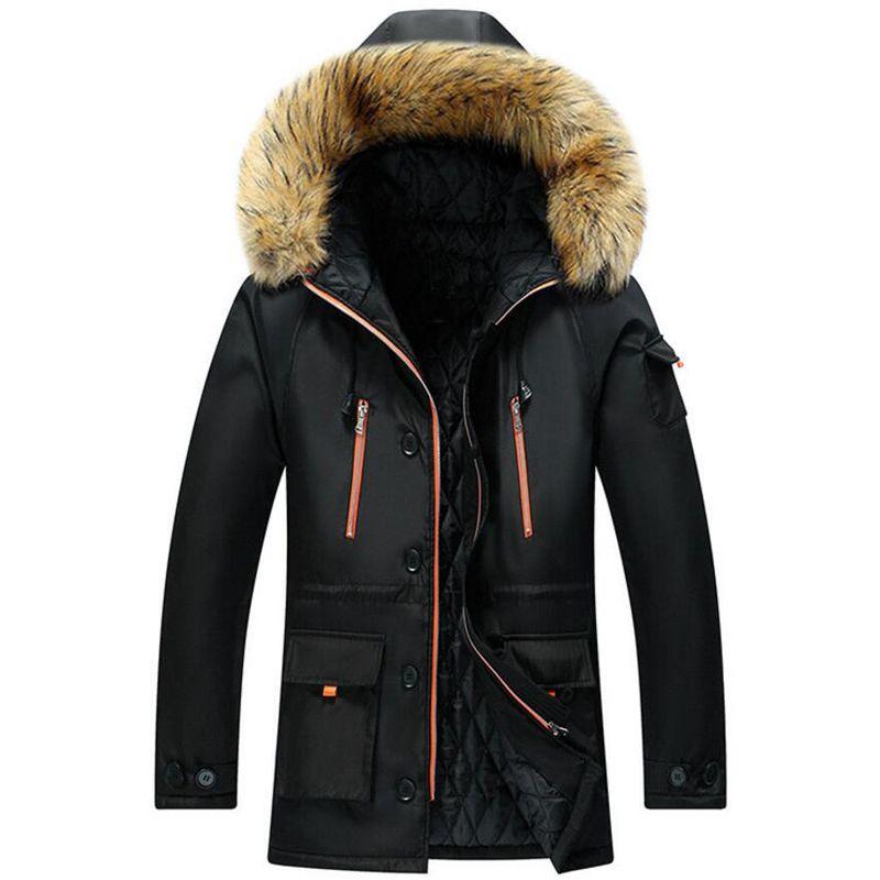 Kış ceket erkekler Casual Uzun Stil Kapşonlu Pamuk-Yastıklı Mont Erkekler Kalın Windproof Parka Mont Artı boyutu M ~ 7XL 8XL Giyim