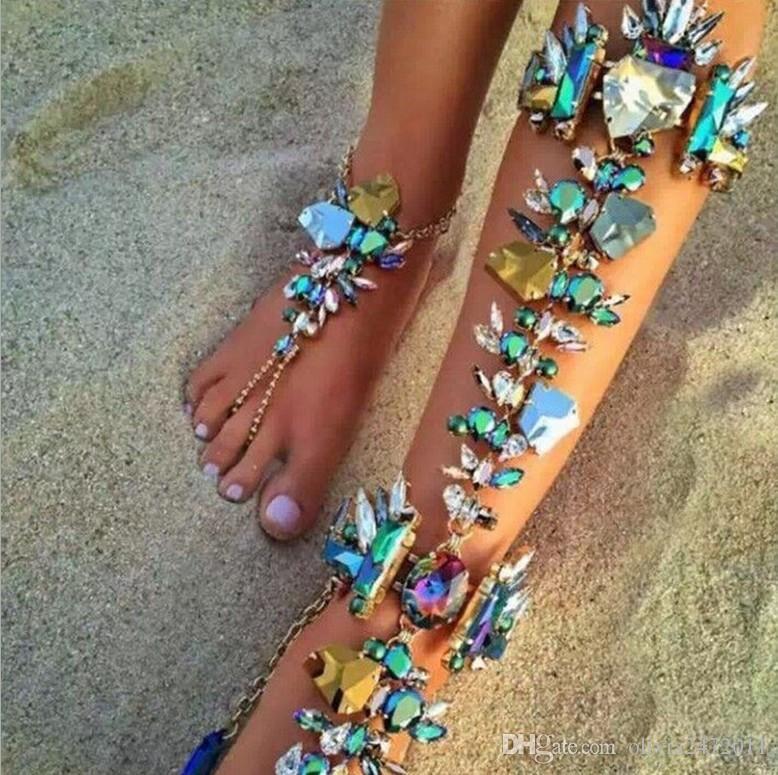 Gioielli Cgjxs Boho piede per cristallo sexy del piedino donne Catena della caviglia Bracciali Sandals Summer Beach Wedding cavigliere Yt