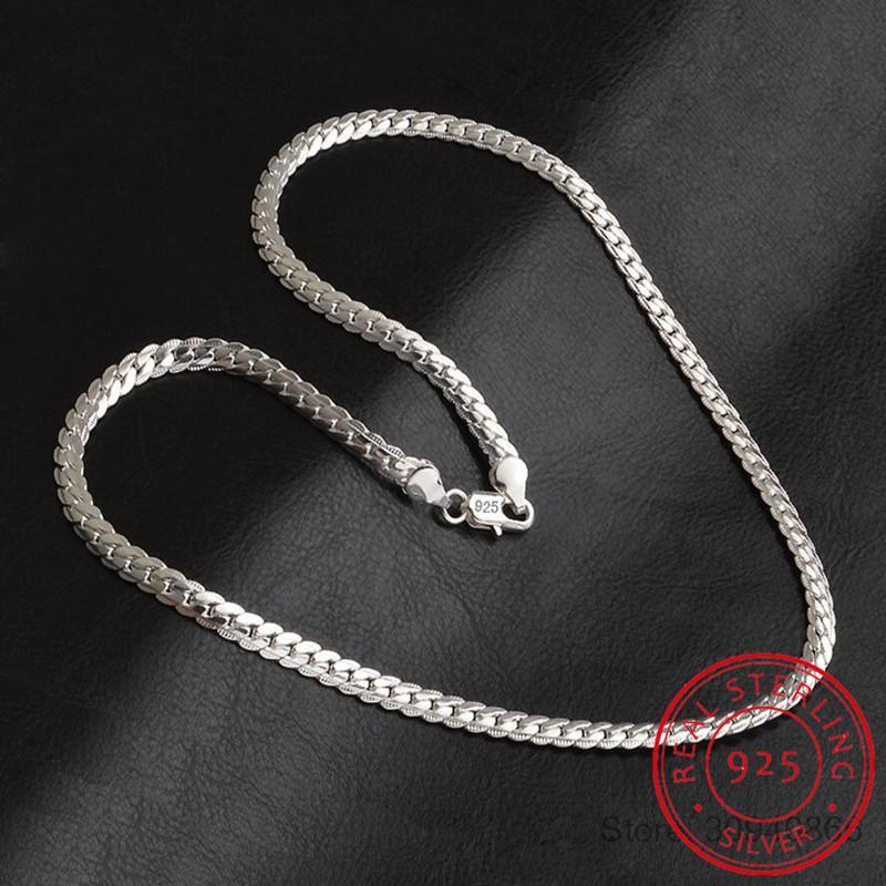 2020 Yeni 5mm Moda Zinciri 925 gümüş kolye kolye Erkekler Takı Sıcak Satış Tam Yan kolye