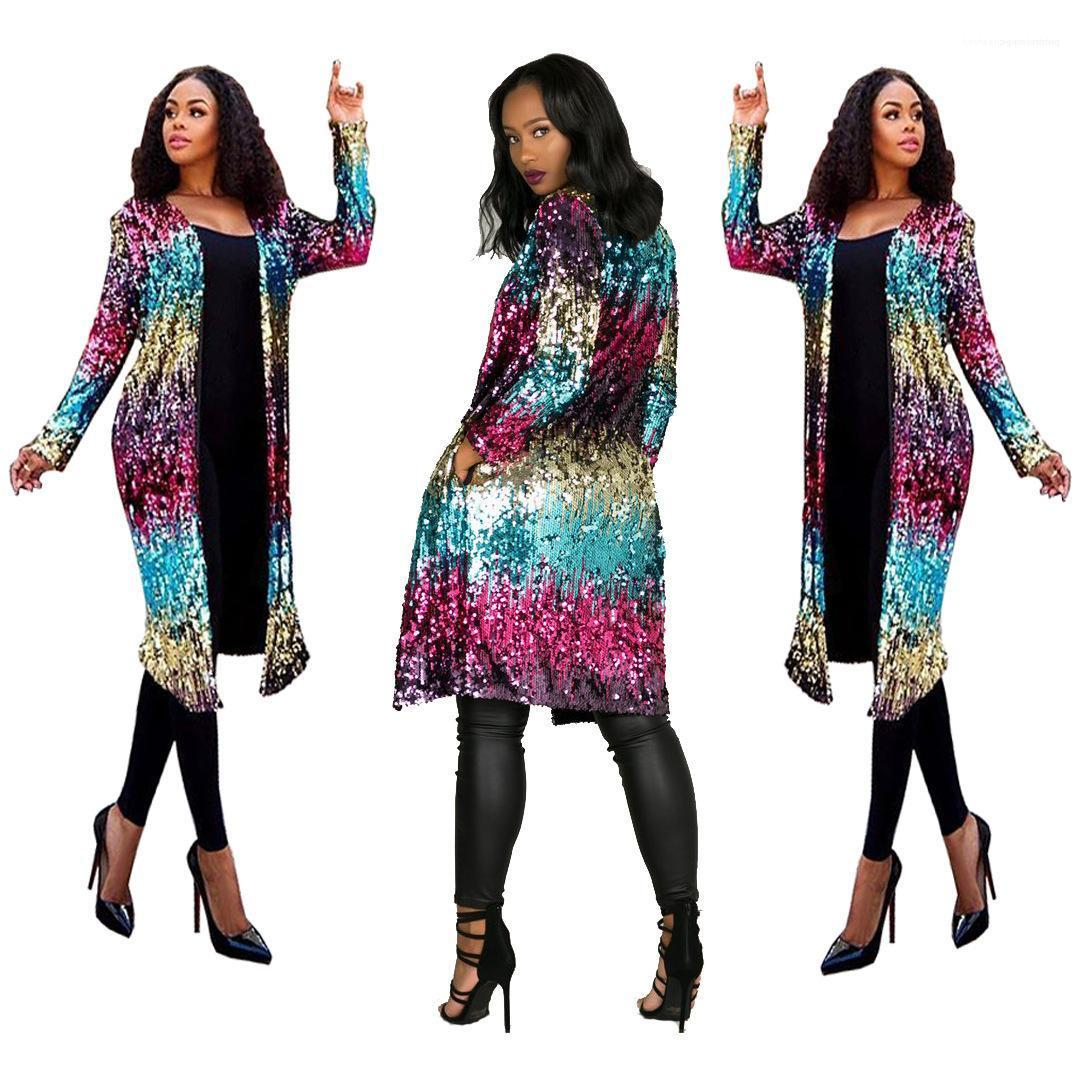 Abrir la puntada diseñador de las mujeres de largo con lentejuelas chaqueta de la rebeca del otoño del resorte de la manera colorida Jacket Coats