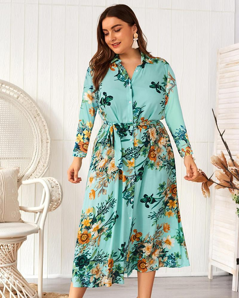 Womens Elegant Apparel New Arrival Women Designer Dress Plus Size Floral Printed Maxi Dresses With Sashes V Neck Long Sleeve