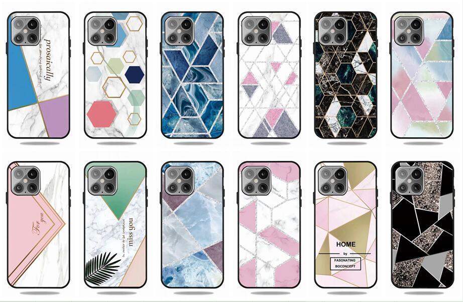 Geometrie Marmor weicher TPU Fall für Iphone 12 5.4 6.1 6.7 2020 Samsung Galaxy Note 20 Ultra-Diamant-Design Stein, Fels, Mode-Telefon-Abdeckung