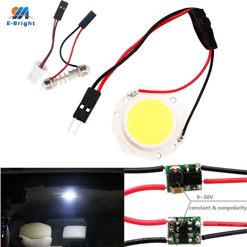 YM E-Bright 6PCSs / Lot COB LED 12V 24V 15SMD Round-Panel Licht Weiß Mit T10 + Festoon-Adapter-Innenhaube-Lampen
