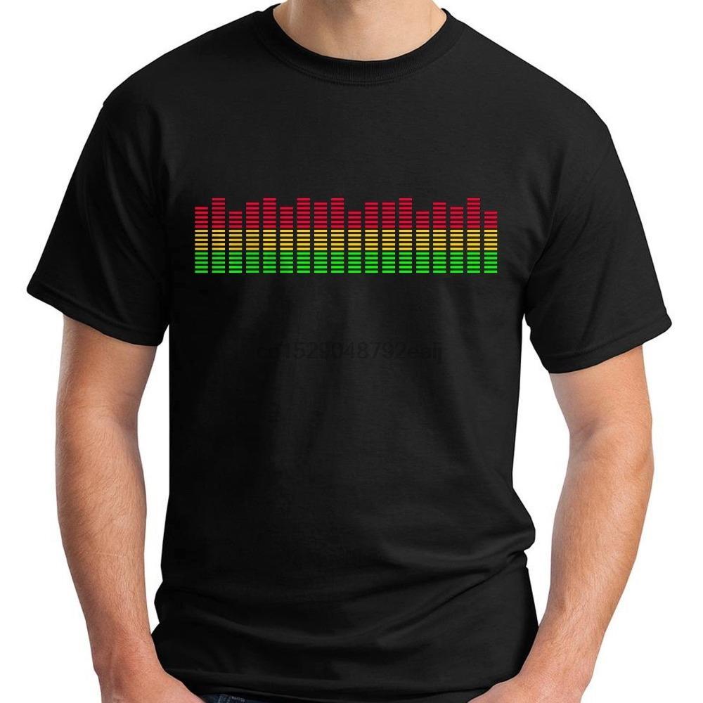 2019 nouvelles 100% coton T-shirts Hommes New LED Equalizer noir T-shirt Taille S-5XL T-shirt