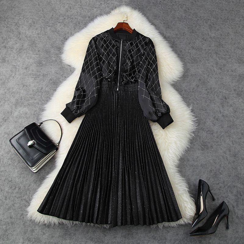 2020 autunno cadono manica lunga stand colletto nero colore puro velluto con pannelli pieghettati metà polpaccio vestito elegante casual Abiti LSP15T11276