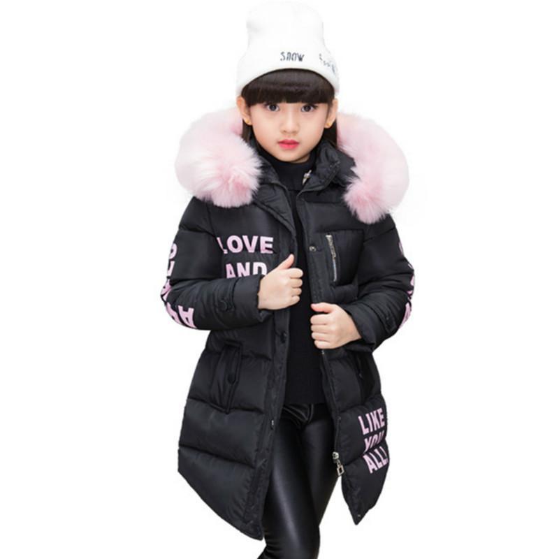 El abrigo con capucha niña pequeña ropa de invierno niñas chaquetas niños de la capa caliente largo encapuchado abajo cubre para los niños prendas de vestir exteriores de los niños de Down