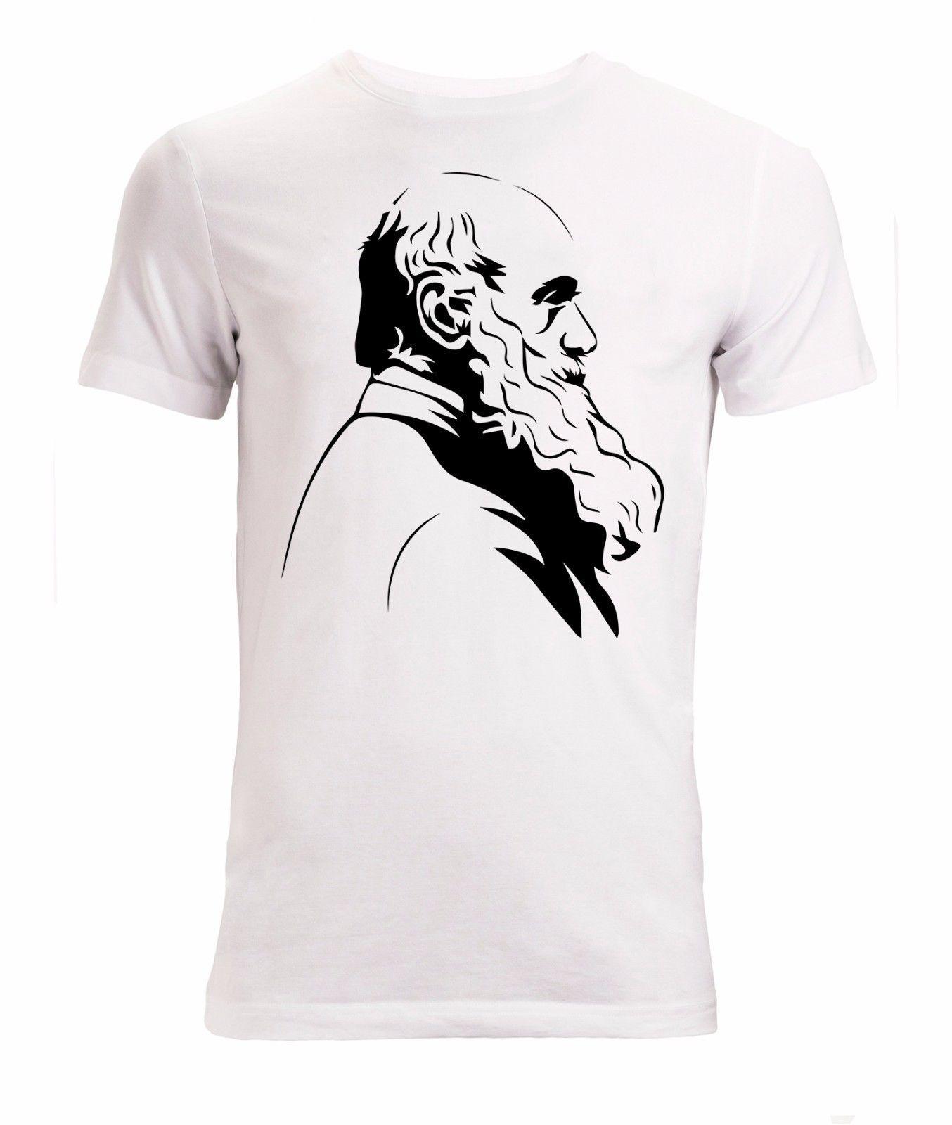 Yeni Moda Casual T Gömlek Soğuk Charles Darwin Ünlü Biyolog Profili Erkek (kadının kullanılabilir) Beyaz Yaz Tee Gömlek