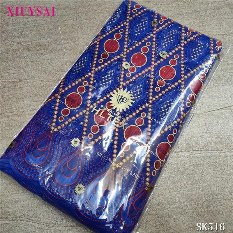 cordón de la gasa suiza en 5yards boda tela africana del bordado de tela suiza del cordón para el vestido SK516 tela de algodón