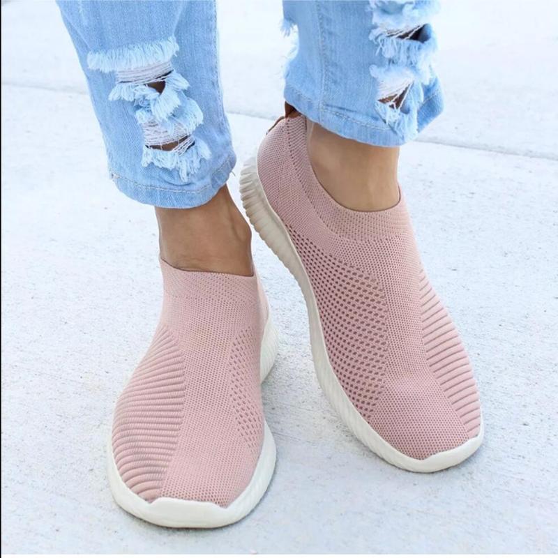 Koovan Kadın Sneakers Düz Örgü Kadınlar Ayakkabı Nefes Casual Ayakkabı On 2020 Yeni Kadın Mesh Vulkanize Bayanlar Kayma