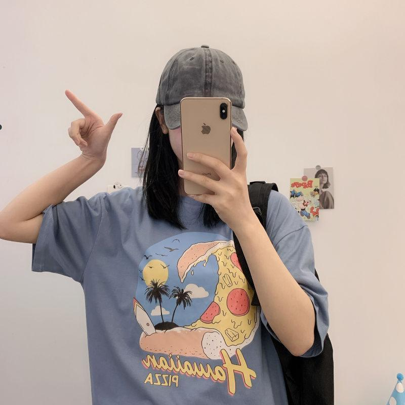 26 puro algodão estudantes do sexo feminino de manga curta soltas versão coreana do selvagem bf vento de banda desenhada t-shirt novo topo ins maré feminino