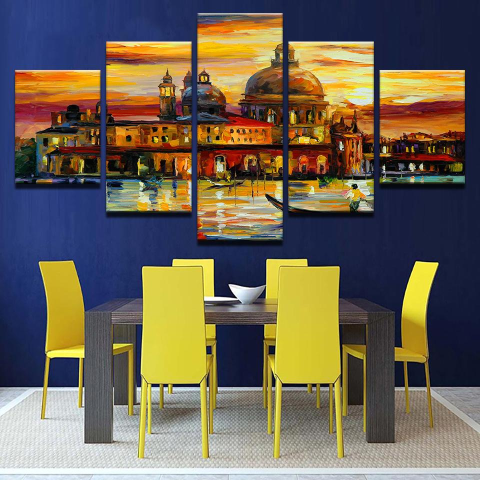 Modern Picture Frame Decoration Canvas Art5Panel Golden Sky Venice Printed Wall Module Picture Kids Room Poster