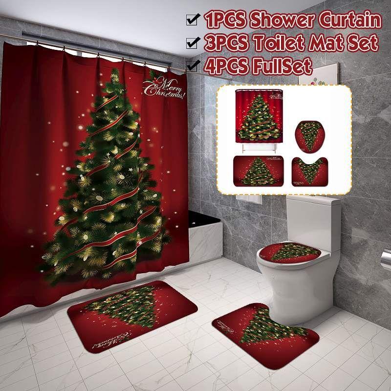 4 개 / 세트 크리스마스 Backgdrop 눈 인쇄 방수 욕실 샤워 커튼 욕실 커튼 화장실 커버 매트 세트 미끄럼 방지 매트