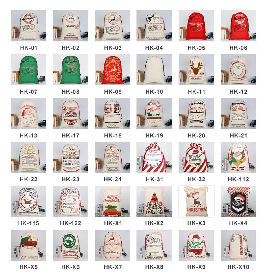 2021 50 шт DHL Рождественский подарок сумки Большие Organic парусиновый мешок Санта Sack Drawstring сумка с оленями Санта-Клаус Sack Сумки для детей