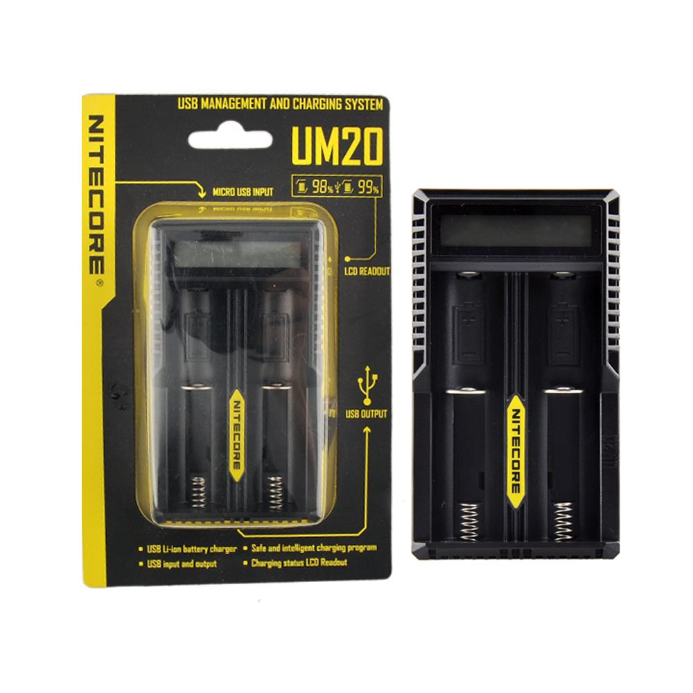 Nitecore UM20 شاحن ذكي العرض LCD UM20 شاحن للبطارية ليثيوم أيون 18650 18490 18350 17670 Nitecore UM10 DHL
