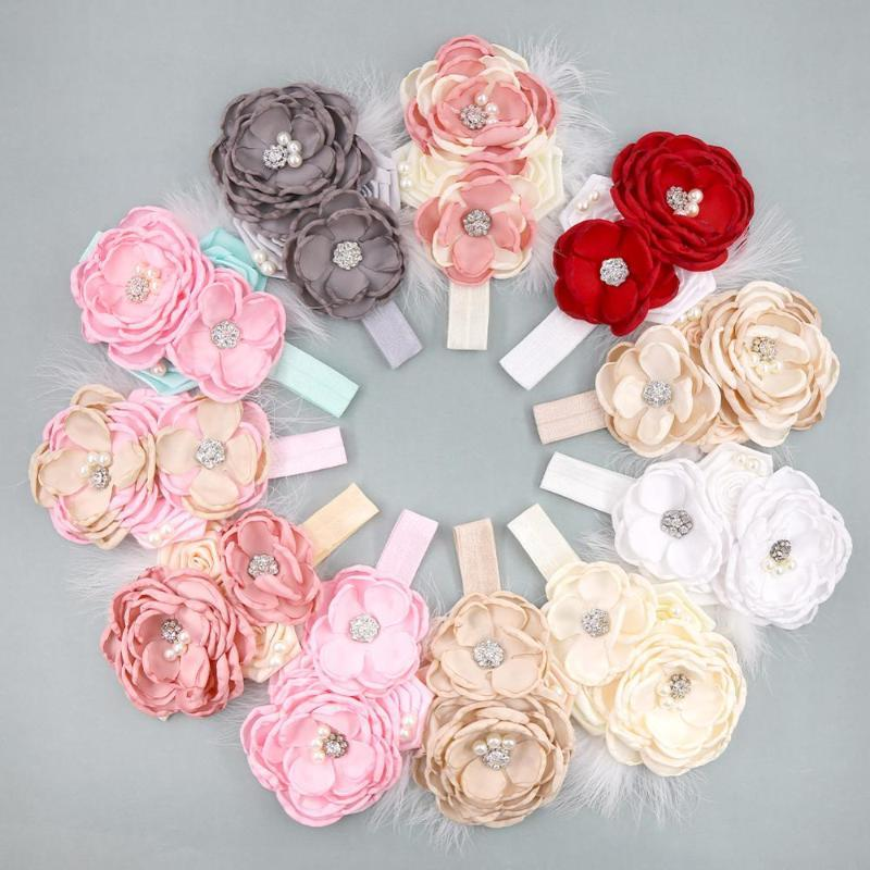 10 Pcs / Lot Feather Stain Flower Baby Girl Headband with Spandex Elastic Band Pearl Rhinestone Headwear Kids Hair Accessories