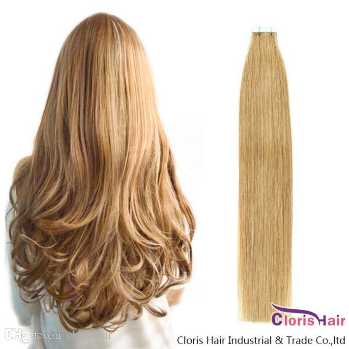 İnsan Saçında Bal Sarışın Bant Yapıştırıcı Uzantıları Ipeksi Düz Brezilyalı Remy Saç # 27 Bant PU Cilt Atkı Görünmez Doğal Saç 20 adet